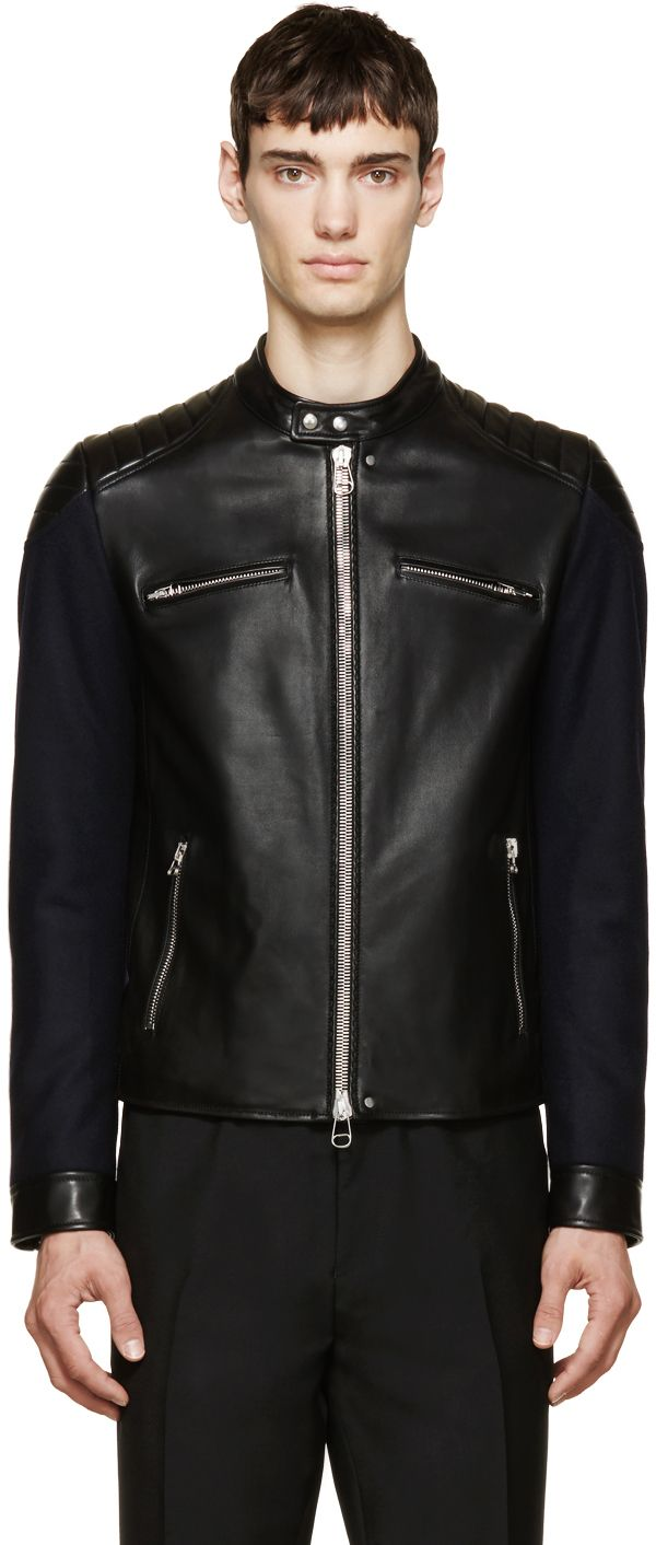 https://www.ssense.com/en-us/men/product/lanvin/black-leather-wool-biker-jacket/1188363