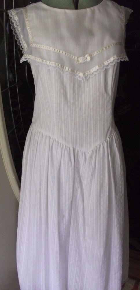 Vintage Gunne Sax by Jessica McClintock White Sleeveless Dress - 13/14 #GunneSax #Party