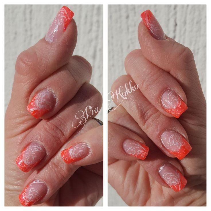 #orangeneon #pinkveil #stamping #nailart #uvgel #passionfornails