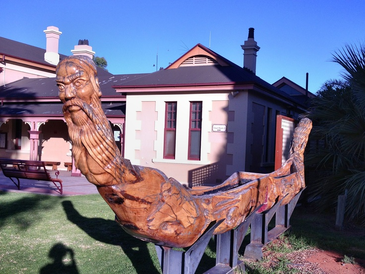 Tree trunk sculpture, by students at Broken Hill Technical School, NSW 2012