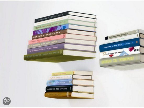 Zwevende boekenplanken, leuk!