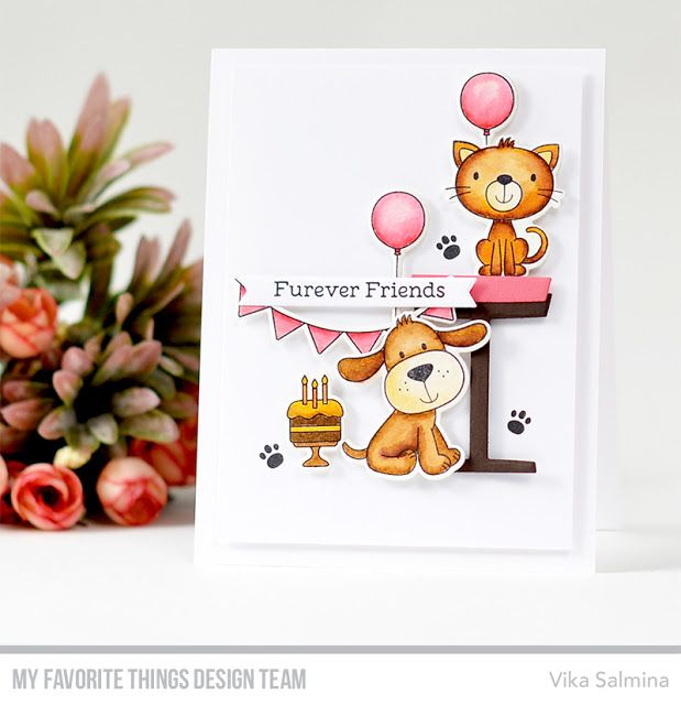 Stamps: Furever Friends, Party Animals Die-namics: Furever Friends, Party Animals, Pet Perches, Hearts in a Row - Vertical  Vika Salmina    #mftstamps