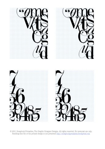ACQUIRED #freeprintable Letters & numbers free journaling cards for project life.