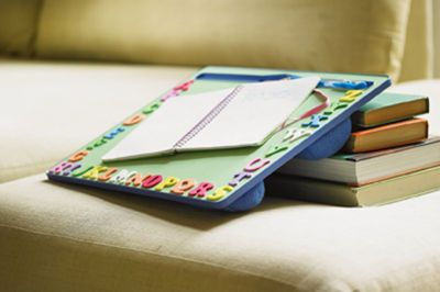 ABC Lap Desk - Foam stickers and chalkboard paint make this project simple.