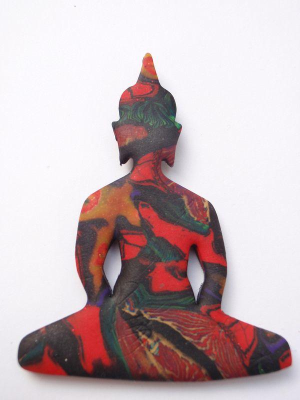 polymer clay buddha pendant