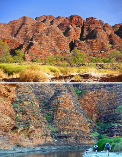 The Bungle Bungles are striped, rounded orange-and-black rock towers in the Purnululu National Park. Another UNESCO World Heritage Site, the Bungle Bungles are located within the rugged Kimberley region of Western Australia, and beyond them remain Australia's last unexplored lands, which are partially restricted Aboriginal country.  (images via: neilsphotography, david bush aus)