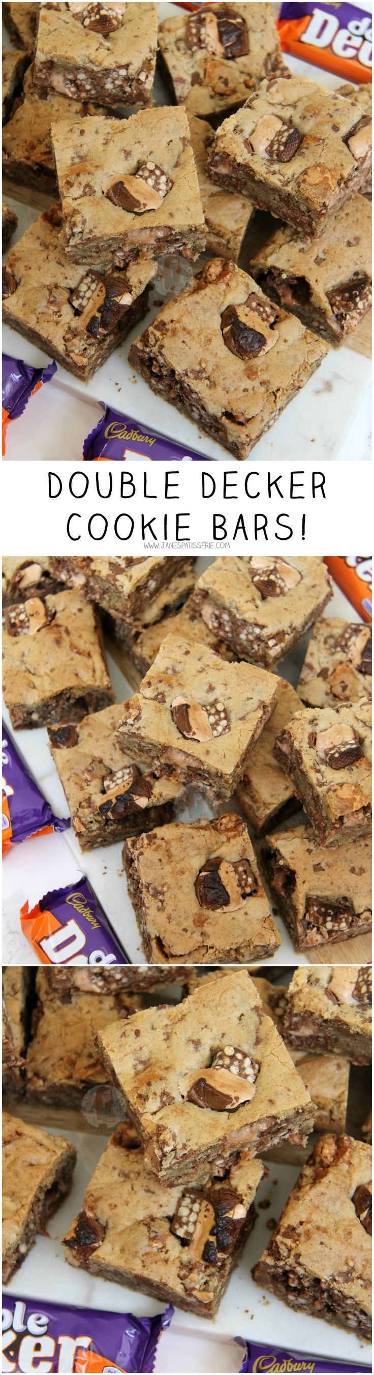 Double Decker Cookie Bars! ❤️ Gooey, chewy, soft and delicious Double Decker Cookie Bars with even more Chocolate Chips.