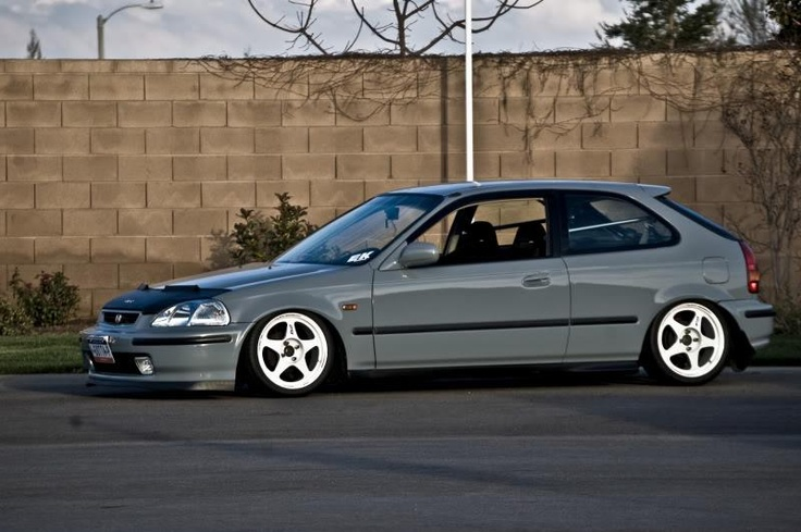 Not only do I love the color this is what I can see myself driving :) love it!!! Probley have some BBS wheels on it. #ek #hatch #slammed