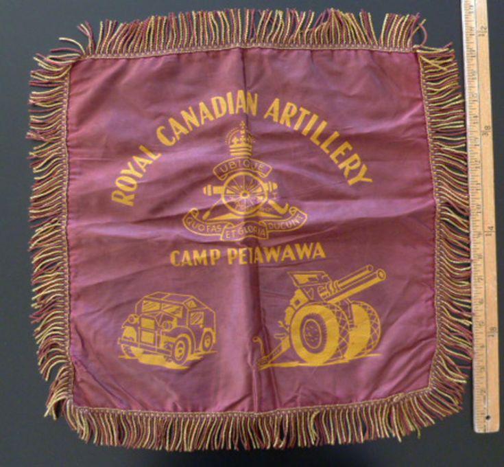 Royal Canadian Artillery Camp RCA Petawawa Silk Cushion Pillow Cover Burgundy