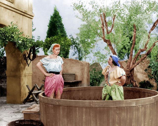 """Colorized shot from the 1956 episode of """"I Love Lucy"""" titled, """"Lucy's Italian Movie"""