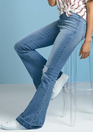 Calça Jeans Feminina Flare Eco Edition Com Cintura Super Alta   Moda  Feminina   Pinterest be0434793c