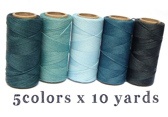 Juego de cordón Macrame verde mar 5 colores x 10 por ColorSupply