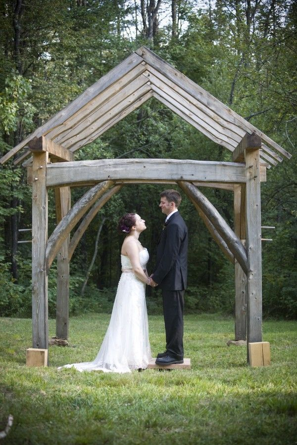 Timber Frame Arbor For New England Wedding Grape Arbor