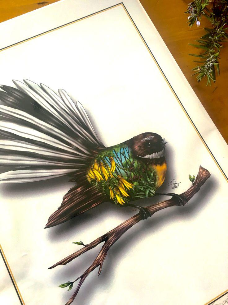 My favourite piece of art.  NZ fantail#love#NZ_fantail#aotearoa