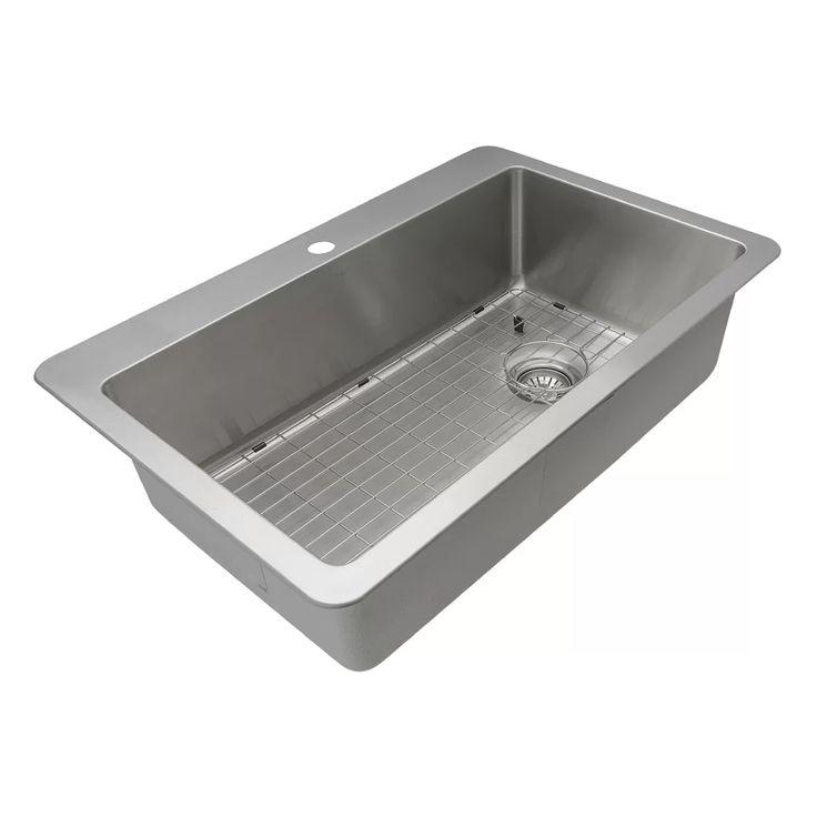 33 x 22 dual mount kitchen sink with basket strainer