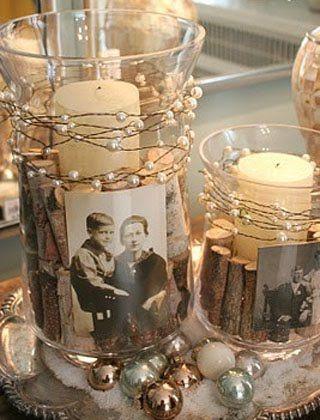 Старые фотографии, бережно размещенные в стилизованных подсвечниках, создают камерное лирическое настроение.