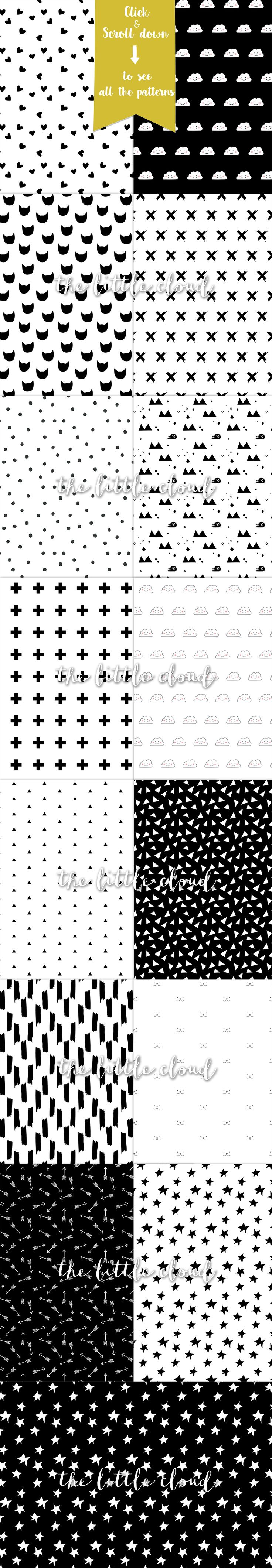 Modern kids patterns,black and white by The little cloud on @creativemarket