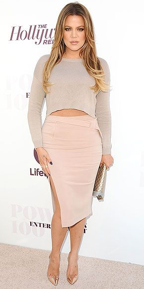 KHLOÉ KARDASHIAN For the Women in Entertainment breakfast in Hollywood, Khloé flaunts head-to-toe nude in an A.L.C. skirt. We love how the neutral hue flatters her freshly lightened locks.