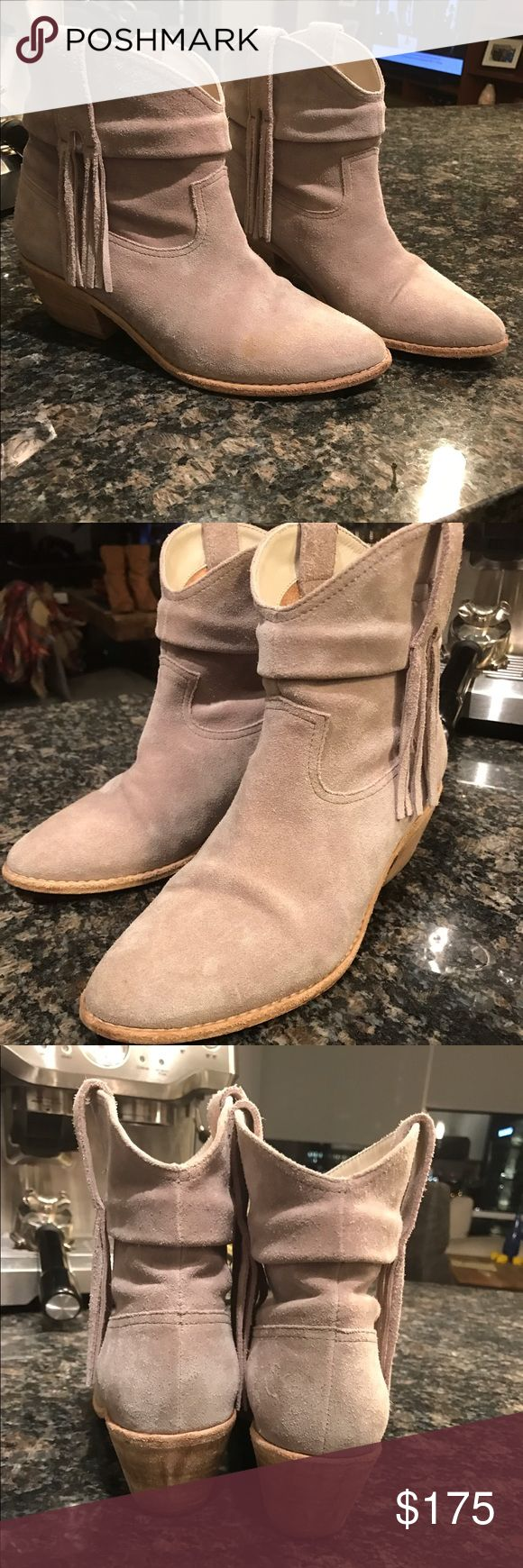"""Joie Keaton suede fringe booties Grey suede joie fringe booties, size 8.5, 2"""" stacked heel and leather sole, very minimal wear Joie Shoes Ankle Boots & Booties"""