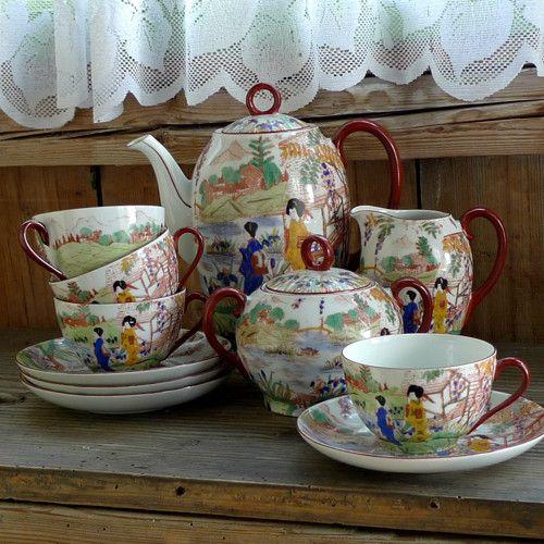 日本茶 ... čajová porcelánová souprava