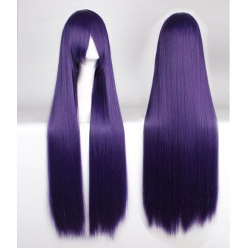 Attractive 100CM Extra Long Silky Straight Purple Side Bang Anime Cosplay Wig $19.36