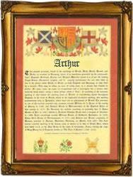 Arthur surname Celtic meaning 'bear'.  In Welsh it means 'hero'.