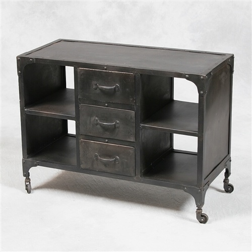 Vintage Industrial Style Metal Small Side Cabinet Three Drawers