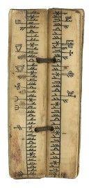 14th c. Norse calendar of saint and feast days. Bone