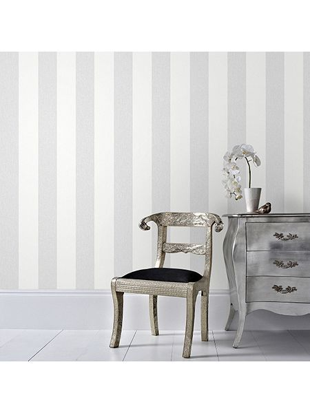 Grey Calico Stripe Wallpaper