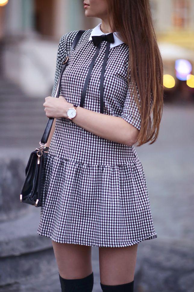 Czarno Biala Sukienka W Pepitke Czarne Zakolanowki I Szpilki Ari Maj Personal Blog By Ariadna Majewska Mini Skirts Summer Dresses Fashion