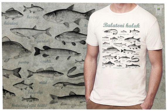 fishes of Balaton   man T-shirt  S-2XL