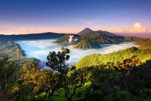 Java - Mt  Bromo Nat Park, with Semeru in the background. Tallest mountain in Java