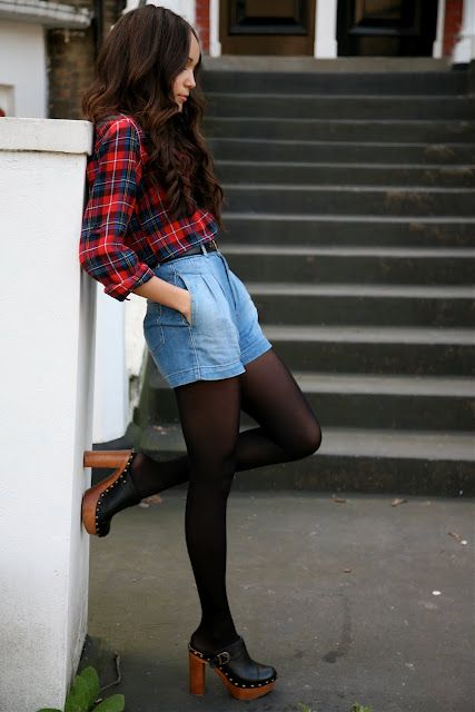 Plaid, denim, and clogs for fall: Street Fashion, Fall Styles Outfit, Boots Socks Tights, Clogs Shoes Fashion, Fashion Styles, Clogs Outfit, Cute Boots, Boyfriends Jeans, Denim Shorts