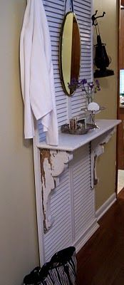 Love the idea of an old shutter and shelf as a hall tree, too....Hall tree week :)