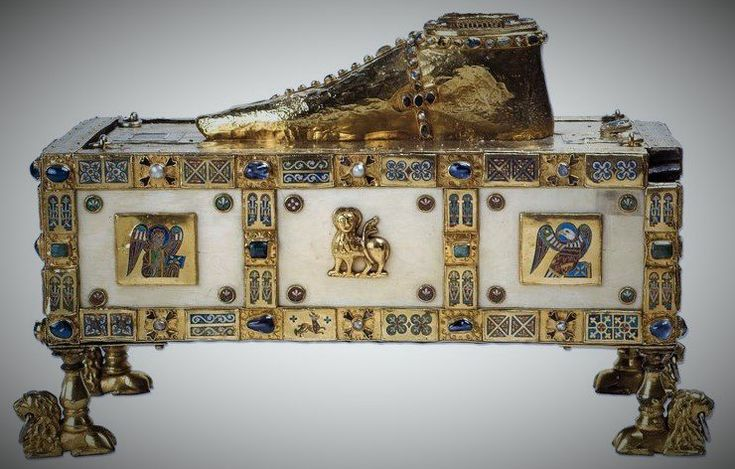 "The precious ""Trier sandal"" of the apostle Andrew is one of the most oddly shaped early medieval portable altars & reliquaries: it was commissioned by one of the most important Ottonian patrons of the arts, Egbert of Trier (977-993), and can still be admired in the Domschatz"