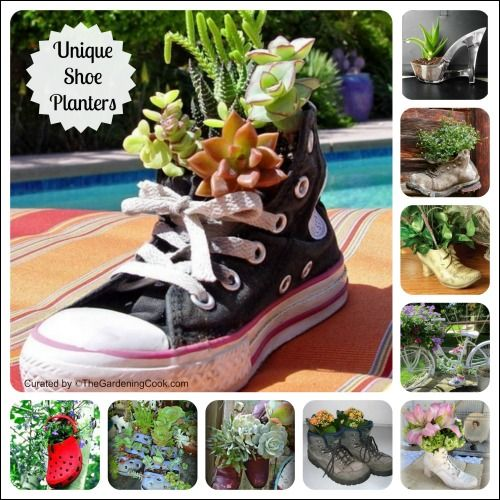 Shoe planters are a great way to recycle old or worn out shoes. The possibilities are endless and the materials as close as your closet or tool shed.