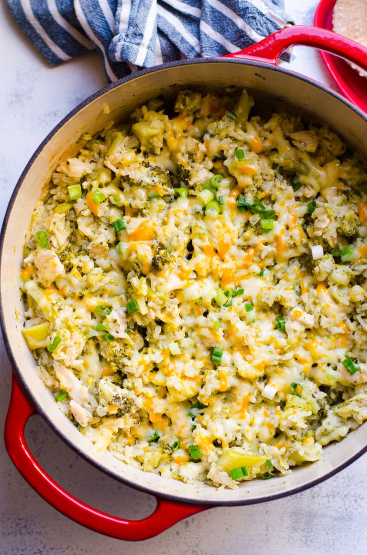Healthy Chicken and Rice Casserole Recipe with brown rice and broccoli, without canned soup and everything is cooked in ONE POT.