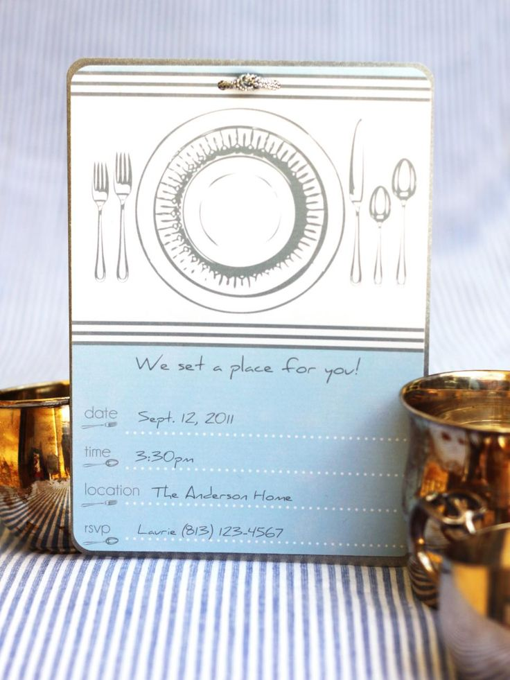 The sophisticated graphic place setting on this invitation allows it to easily be used for a number of different occasions. To keep the style clean and simple, create a knot with silver ribbons and string it through the back of the invitation, leaving the knot in front. Layer on silver card stock and round the corners to give it a polished look. Design by Kori Clark of Paper & Pigtails