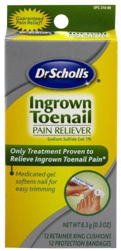 Dr.Scholls Ingrown Toenail Pain Reliever Gel - 0 3 Oz with 12 Cushions & 12 Bandages by Dr. Scholl's. $7.54. INDICATIONS: Features of Dr. Scholls Ingrown Toenail Pain Reliever Gel With 12 Bandages & Retainer Ring. Nothing's proven faster to relieve ingrown toenail pain at home. Most advanced treatment for ingrown toenail.