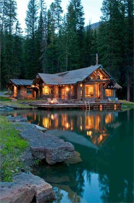 glowing country cabin, lakeside. Water, mountains and peace.