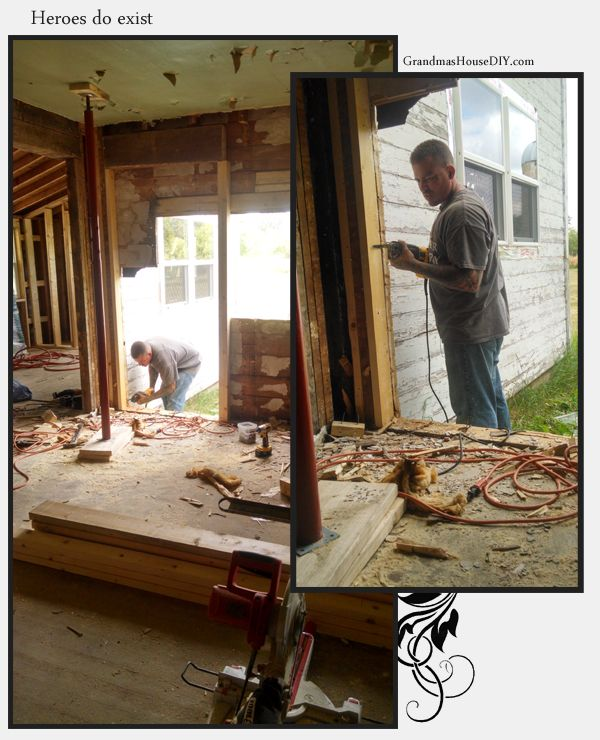 Joe really is my hero, here is cutting the hole for our new french door with a window beside it. @GrandmasHousDIY