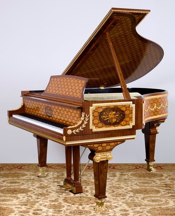 marquetry inlaid art case Steinway & Sons baby grand piano