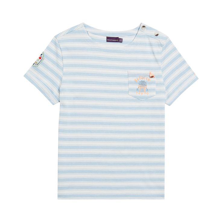 Sergent Major vous propose ce tee shirt manches courtes garcon bleu pour les 2 à 11 ans du theme Akiko mon ami de tokyo de la collection Ete