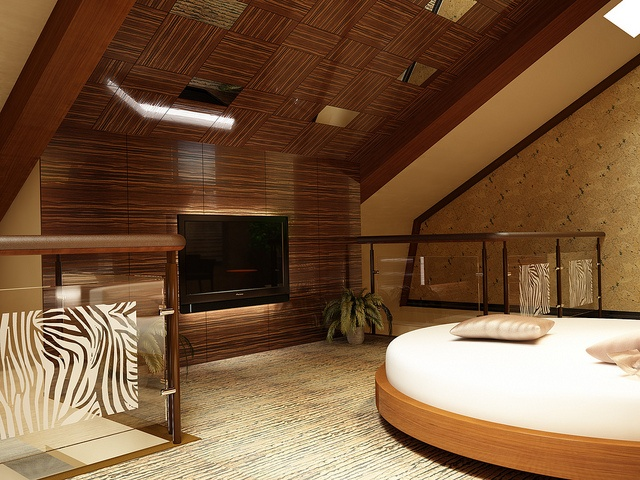 Penthouse bedroom with cork, via Flickr
