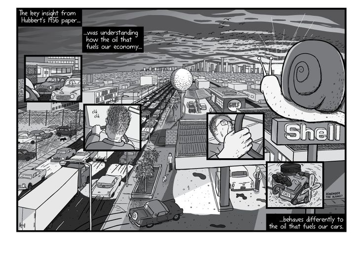 Comic artwork showing sun setting over urban fuel station in afternoon sunlight. High angle above gas station next to busy thoroughfare road. Image from Stuart McMillen's comic Peak Oil (2015), from the book Thermoeconomics (2016).