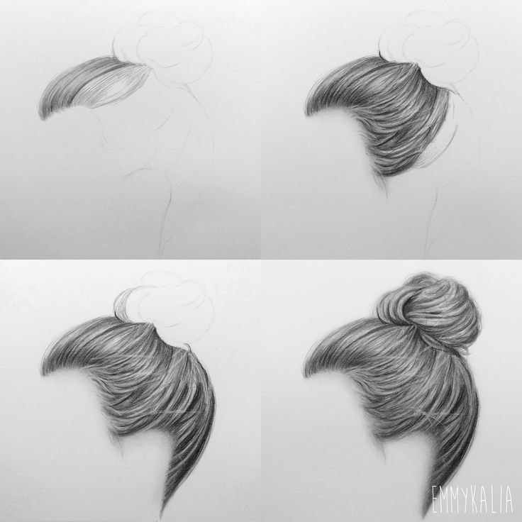 Video how to draw a realistic hair bun step by step https