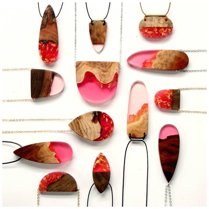 Semi-Natural Wooden Jewelry : wood and resin