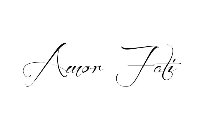 Tattoo Name Amor Fati using the font style Before the Rain Regular
