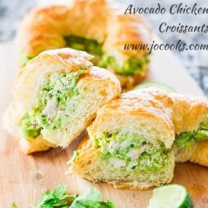 Avocado Chicken Croissants - a refreshing avocado chicken salad with lime, red onions and cilantro over delicious buttery and flaky croissants.