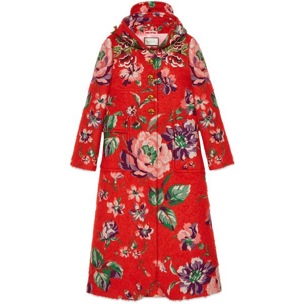Gucci Floral Brushed Mohair Coat (371,680 PHP) ❤ liked on Polyvore featuring outerwear, coats, coats & furs, ready-to-wear, women, gucci, sequin coat, hooded coat, floral coat and gucci coat